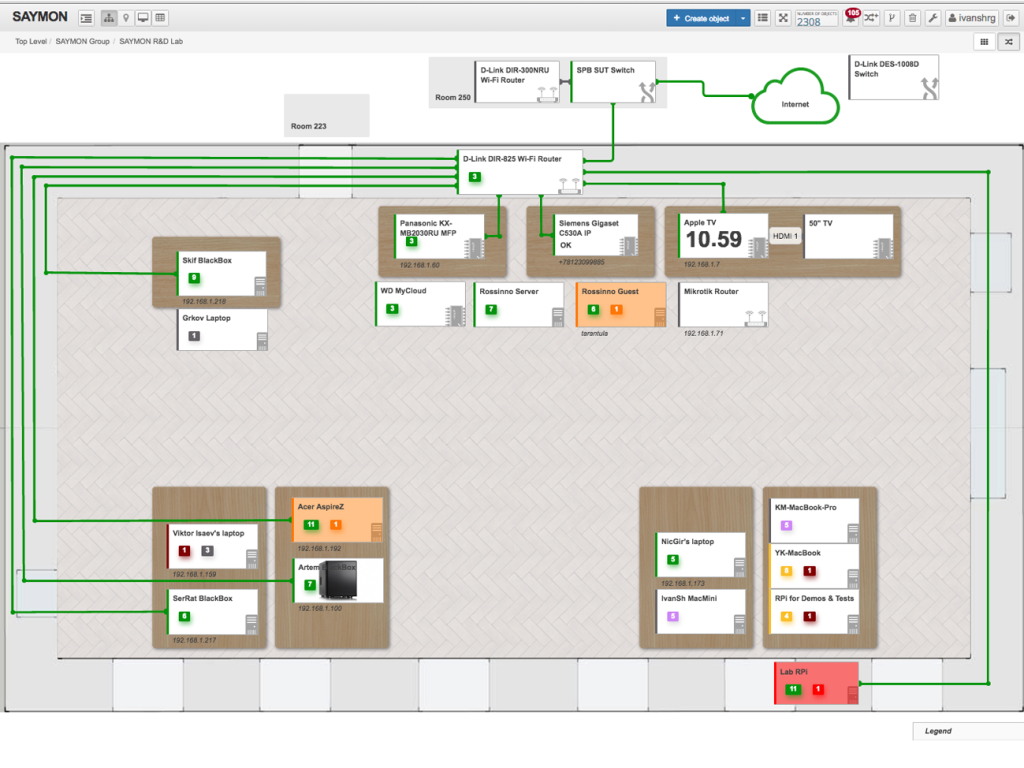 Мониторинг элементов офисной инфраструктуры на плане помещения